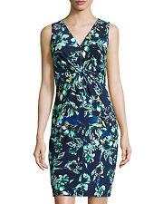 NWT Donna Morgan Floral-Print Knotted Sleeveless Dress Iceberg Navy Blue 12 $119