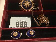 Vintage pendant necklace & Clip-on Earrings Cobalt blue enamel Pearls Gold metal