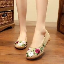 Retro Womens Canvas Embrodiery Casual Shoes Round toe Slip on Loafers Flats Size
