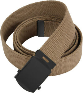 """Coyote Brown Military Cotton Web Belt with Black Buckle 54"""""""