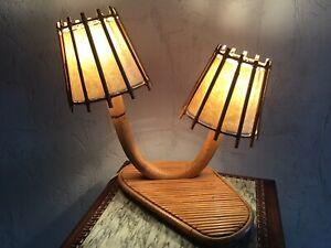 Lampe de chevet, lampe de table en rotin, bambou Louis Sognot ancienne