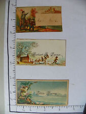 3 NAME CARDS; 2 FROGS POND; KNIGHT ON MULE MAN; MAN HORSE PULLING RAFT 1313
