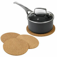 Three 20cm Natural Cork Heat Resistant Hot Pots Pans Coasters Worktop Saver Mats