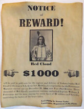 Red Cloud Wanted Poster, Western, Old West, Indian