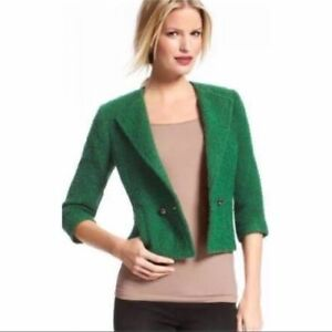 CAbi Style 532 SZ 2 Green Ivy Green Wool Boucle Tweed 2 Button Lined Jacket