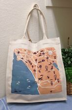 Fossil Canvas Beach Tote Bag Shoulder Handbag California Map EXC