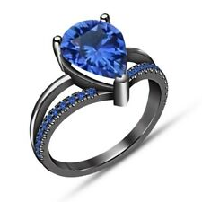 14k Black Gold FN Solitaire With Accents Style Sapphire Wedding/Engagement Ring