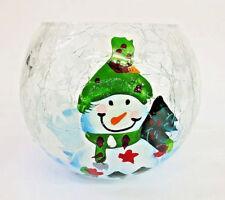 cristal muñeco de nieve PORTAVELAS PEQUEÑO 9074