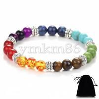 7 Chakra Bead Healing Reiki Gemstone Energy Prayer Beaded Stretch Bracelet 7.8''