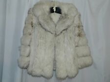 Ladies Size M / L  Vintage Sears Fashions Silver Fox Fur Leather Jacket Coat