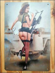 Sexy Pin up Army Babe Girl Willys Jeep - WW2 Metal Wall Tin Sign Retro Poster