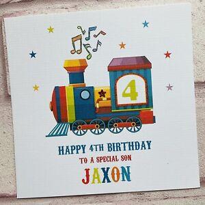 PERSONALISED Handmade BIRTHDAY CARD Music Train Son Grandson  2 3 4 ANY AGE