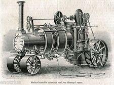 Macchina a Vapore del 1865.Machine Locomobile. Stampa Antica + Passepartout.1865
