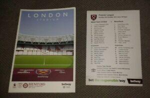 West Ham United v Brentford Programme + FREE Team Sheet 3/10/2021 NEW
