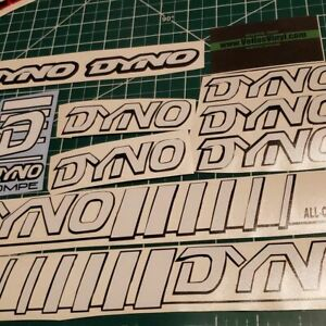 DYNO COMPE DECAL SET 86 87 88 89 VINTAGE BMX WHITE AND BLACK