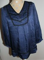SHOSHANNA Navy Blue Silk Blouse Top 3/4 Button Cuff Sleeve SIZE 6