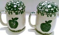 Tienshan Stoneware Salt and Pepper Set, Folkcraft Tableware Green Apple Sponge