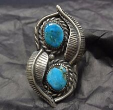 Vintage NAVAJO Sterling Silver & Deep Blue TURQUOISE RING, size 7.75