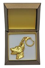 Doberman pincher - gold plated keyring with image of a dog, in box, Art Dog USA