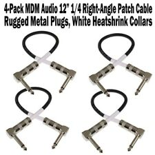 """4-Pack MDM Audio 12"""" 1/4 Right Angle Patch Cable Instrument Guitar Cord 1 ft NEW"""