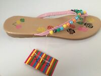 Womens Flip Flops Size 5 4 or 3 White or Pink  Bead Design Chix Fashion Footwear