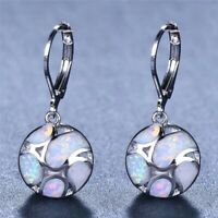 Fashion 925 Silver White Fire Opal Football Dangle Drop Earrings Wedding Jewelry