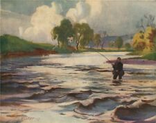 'A favourite pool (Near Rosebank)' by John Young-Hunter. Scotland 1907 print