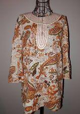 Carole Little Top Shirt L Large Cream Gold Paisley Linen Blend 3/4 Sleeve Brown