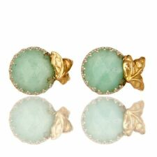 Handmade Chrysoprase Faceted Earrings / STUDS  18k Solid Yellow Gold