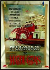 ORIG VTG 1968 DELTA QUEEN STEAMBOAT TO NEW ORLEANS MARDI GRAS POSTER ARTIST SIGN