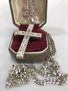 925 Sterling Silver Extra Long Curb Chain With 925 Sterling Silver Cross Pendant