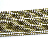 "WHOLESALE LOT 50 100 200 500 1000  BALL CHAIN 2.4mm 24/"" Bronze Tone Best Price"