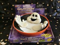 VTG. GEMMY (NOS) Animated Halloween Laughing Lighted Eyes Ghost Candy Bowl Dish