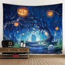 Pumpkin Halloween Tapestry Tree Witch Wall Hanging Party Decor Home Art Decor