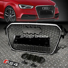 RS STYLE CHROME ABS FRONT BUMPER HONEYCOMB GRILL GUARD FOR 12-16 AUDI A4/S4 B8.5