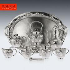 ANTIQUE 20thC JAPANESE SOLID SILVER MASSIVE TEA & COFFEE SERVICE ON TRAY c.1900