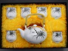 "Chinesisches Teeservice Porzellan ""Lotus im Nebel"" asiatische Keramik Teekanne"