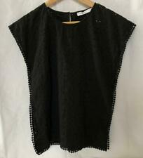 Decjuba Kids girl TOP Sz 10-12 Black designer short sleeve 100% Cotton GLEN IRIS