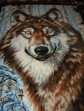 Wolf brown fleece tied blanket throw wolves canine forest blankets bedding