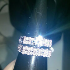 2 PIECE RING SET. MODERN DESIGN CREATED WHITE SAPPHIRES ON BOTH RINGS. SIZE N