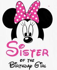 **** DISNEY MINNIE  SISTER OF THE BIRTHDAY GIRL**FABRIC/T-SHIRT IRON ON TRANSFER