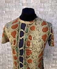 Galliano Short Sleeved Snakeskin Pattern T-Shirt Size Medium Excellent Condition
