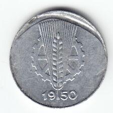 EAST GERMANY 1 pfennig 1950-E KM1 Al Struck through a foreign object RARE ERROR!