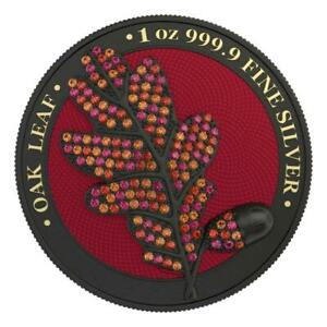 "Germania 2019 5 Mark Oak Leaf ""BEJEWELED"" Black 1 Oz Silver Coin"