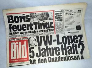 Bildzeitung vom 22.07.1993 * VW * Tiriac * zum 24. 25. 26. Geburtstag