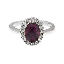Tourmaline & White Topaz oval cut Halo Sterling Silver Ring White Gold over