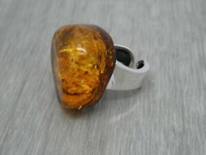 Beautiful Sterling Silver Baltic Natural Polish Honey Amber Ring UK Size P