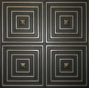 PVC Faux Tin Glue Up Ceiling Tiles 24x24 D125 Antique Silver