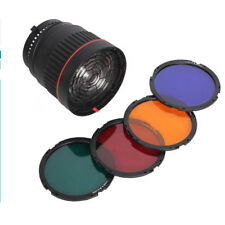 NG-10X Focus Lens Bowen Mount For Flash & Led Light,with 4 Color Filte New.