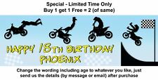 Birthday Party Banner Paper Sign - MOTOR BIKE, TRAIL BIKE, RACING, STUNTS